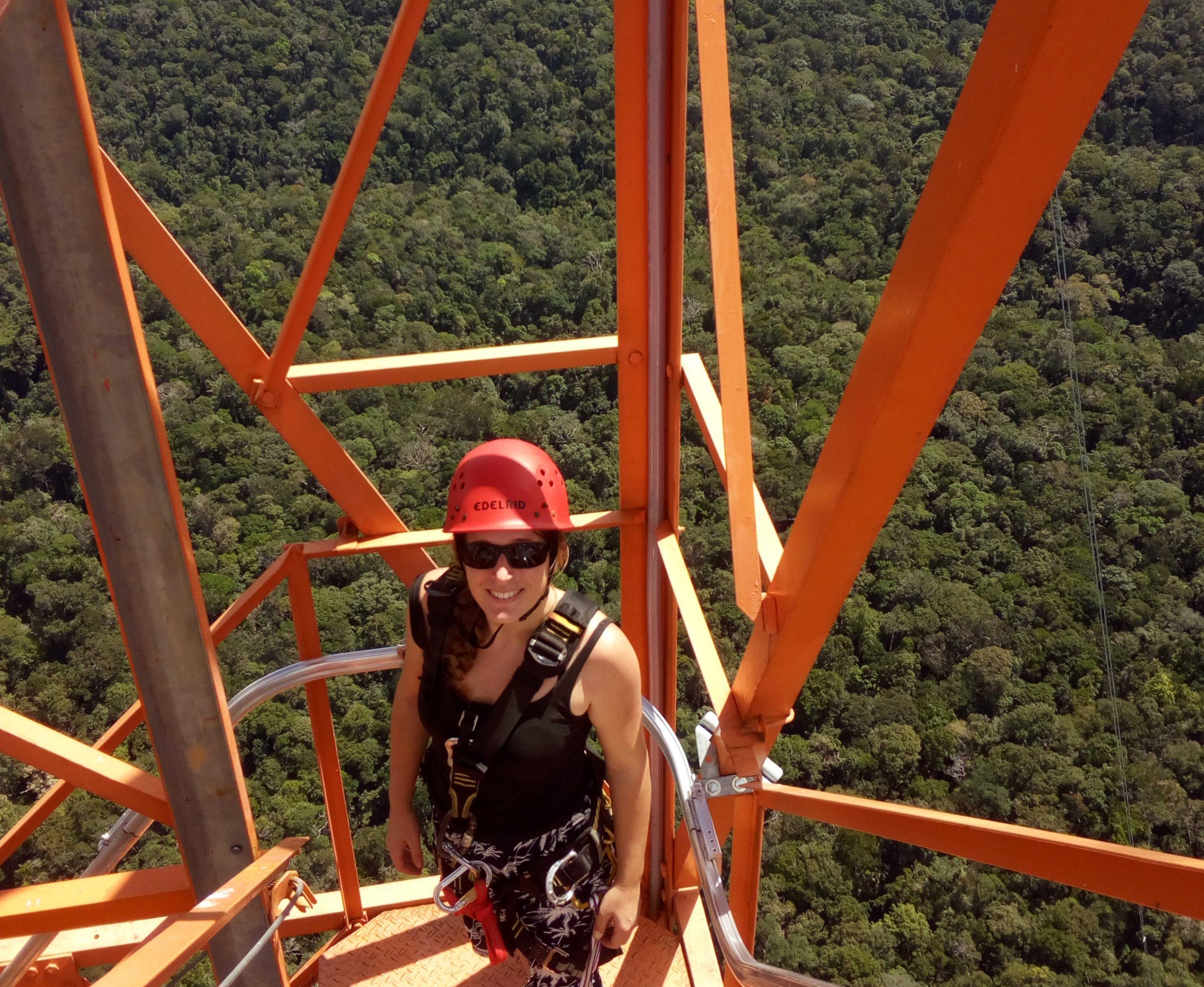 PostDoc Hella on the ATTO tall tower