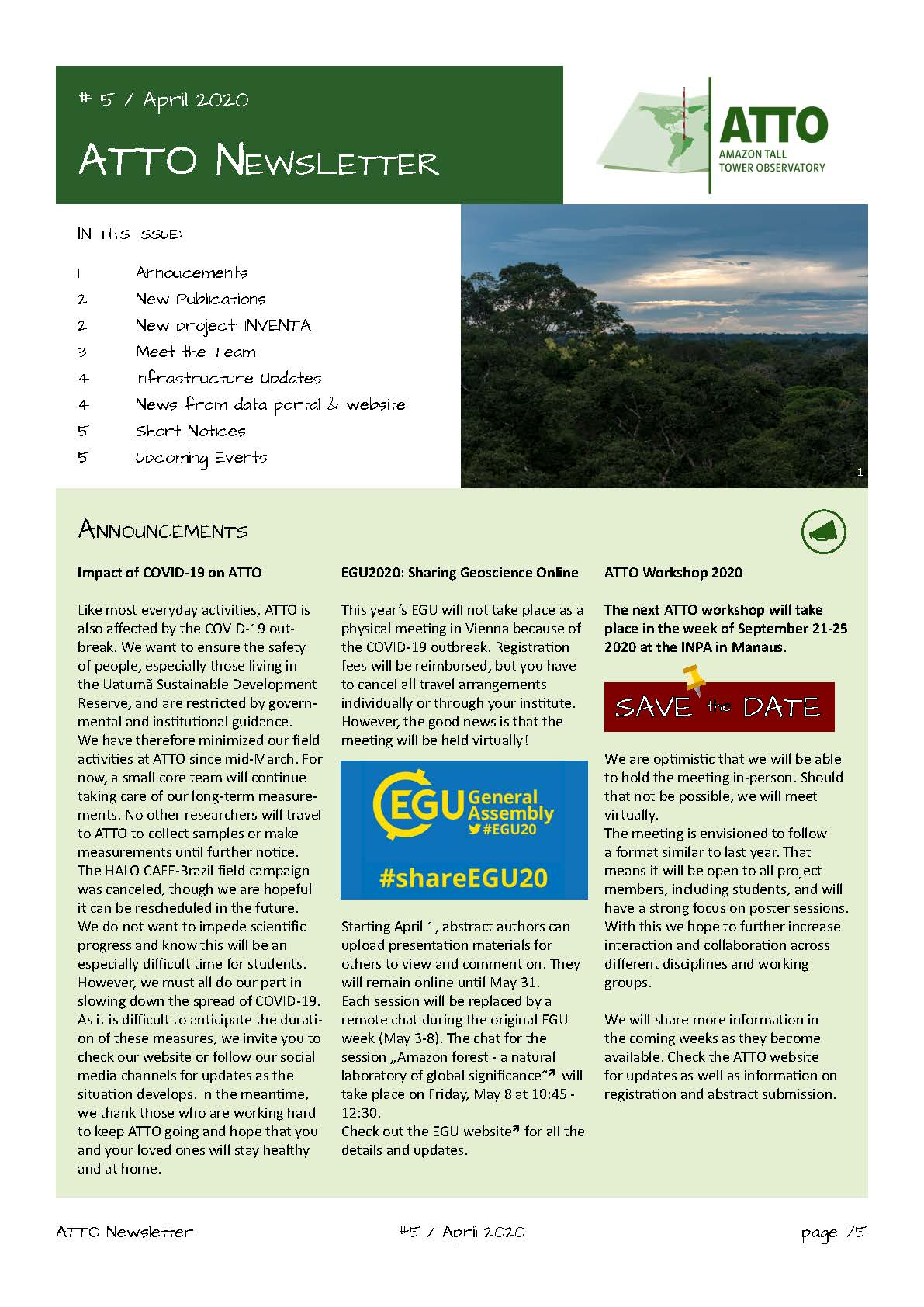 Cover of the ATTO Newsletter April 2020