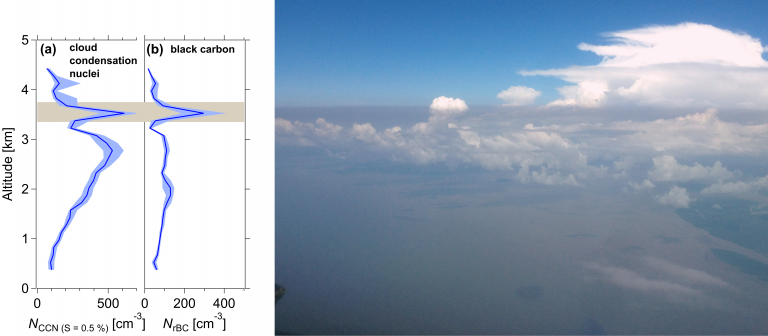 Layer of smoke with high black carbon concentration reaching the coast of Brazil.