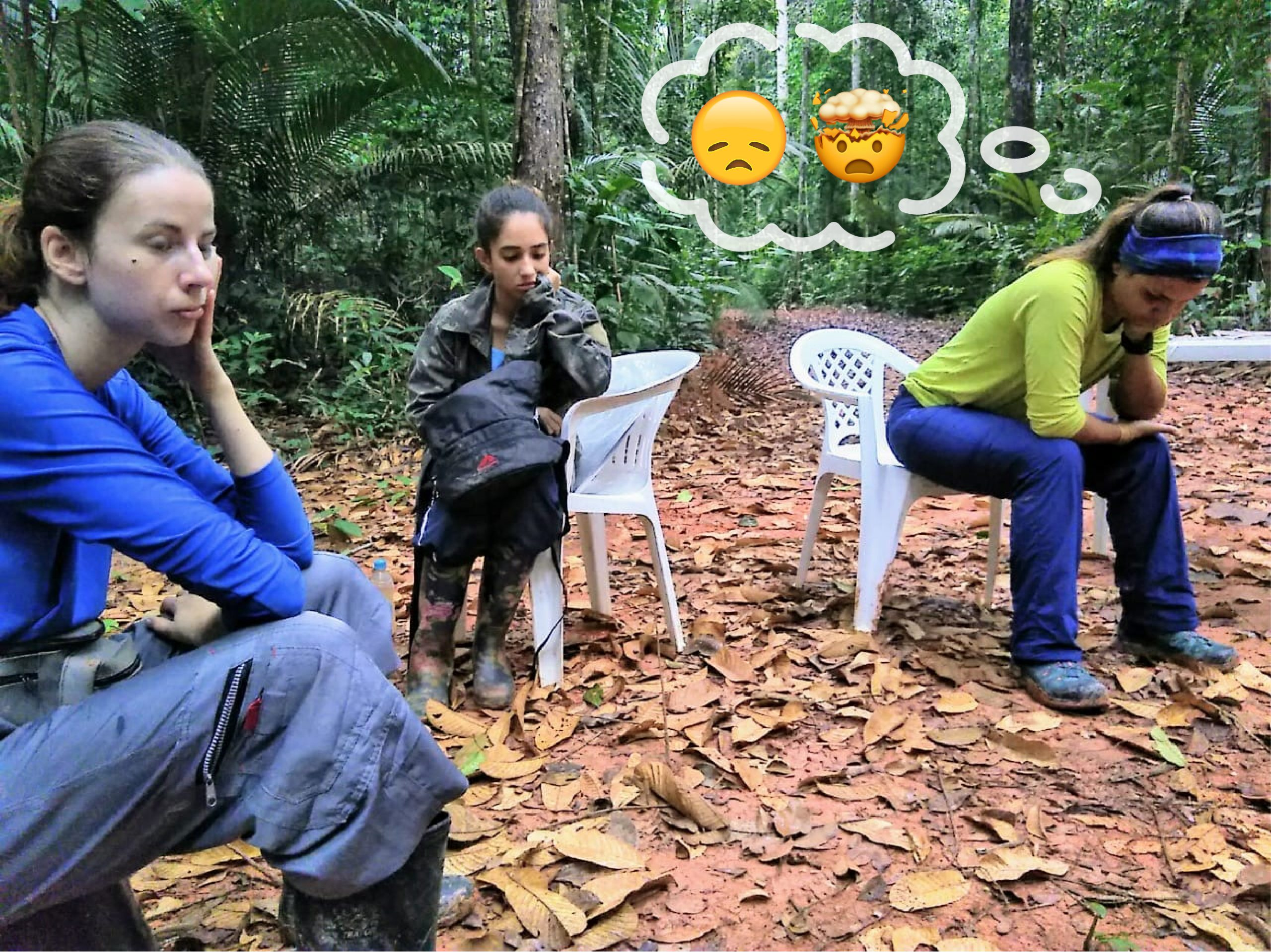 Eliane and two of her students sit in the forest, looking sad and frustrated, ponder how to fix the broken instrument.