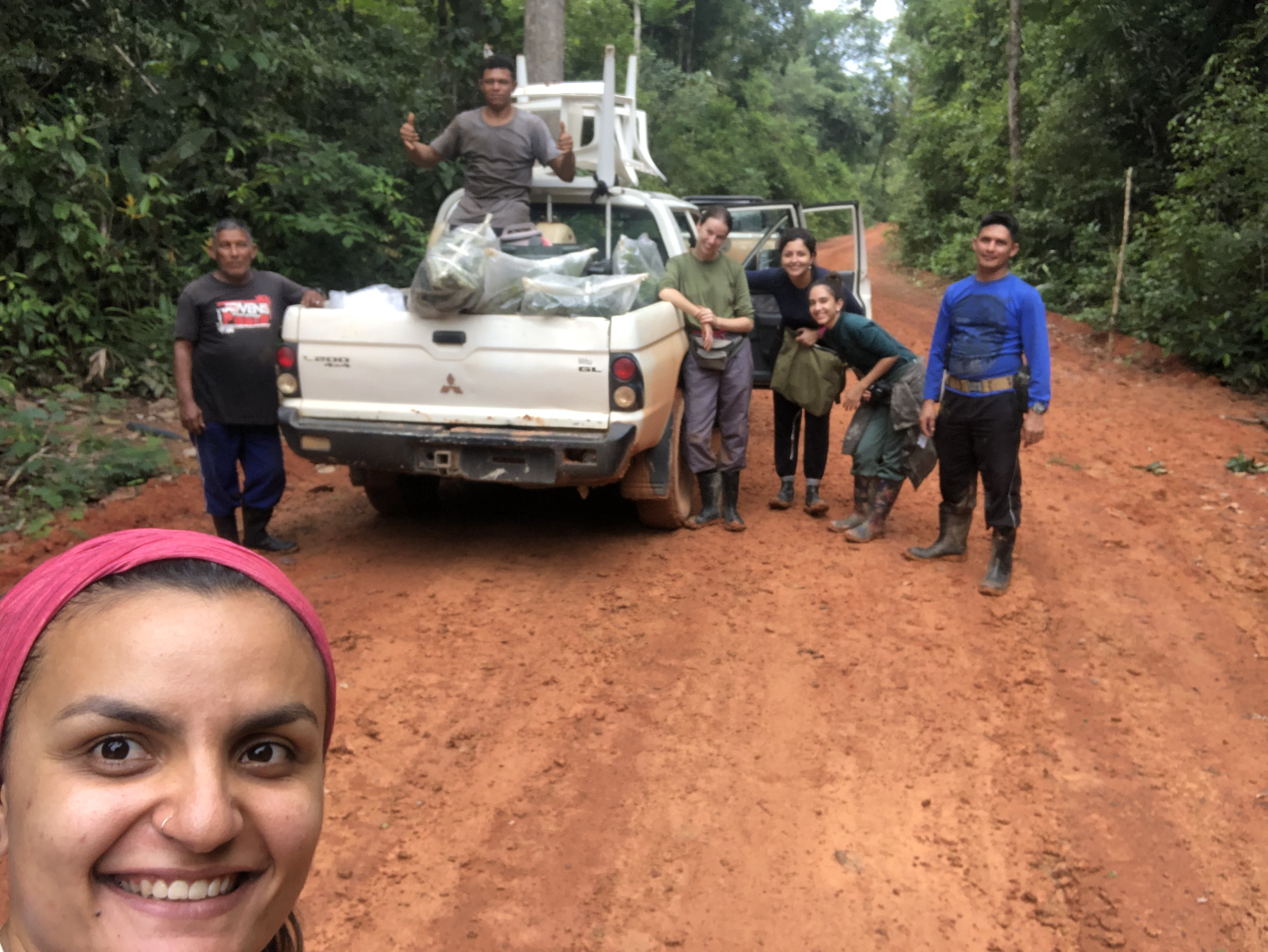 Elaine and her team gather at the truck to return back to the camp after a successful day of measuring.