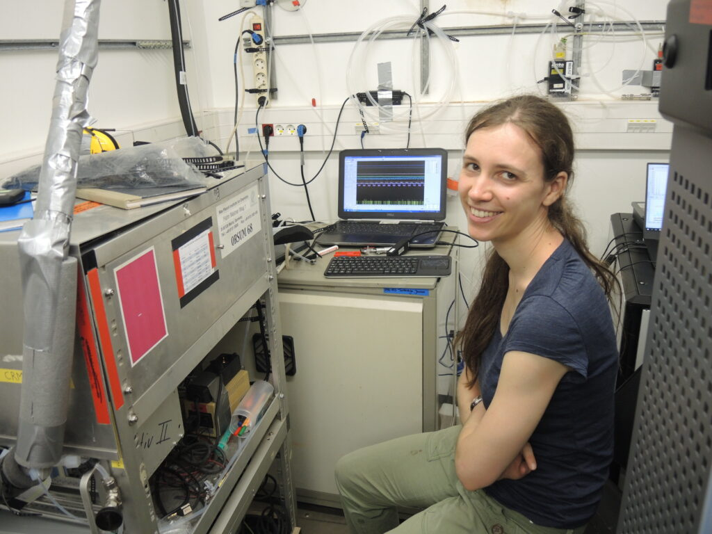 """Me next to the CRM instrument rack, in the background is the detector instrument """"Tartaruga junior"""""""