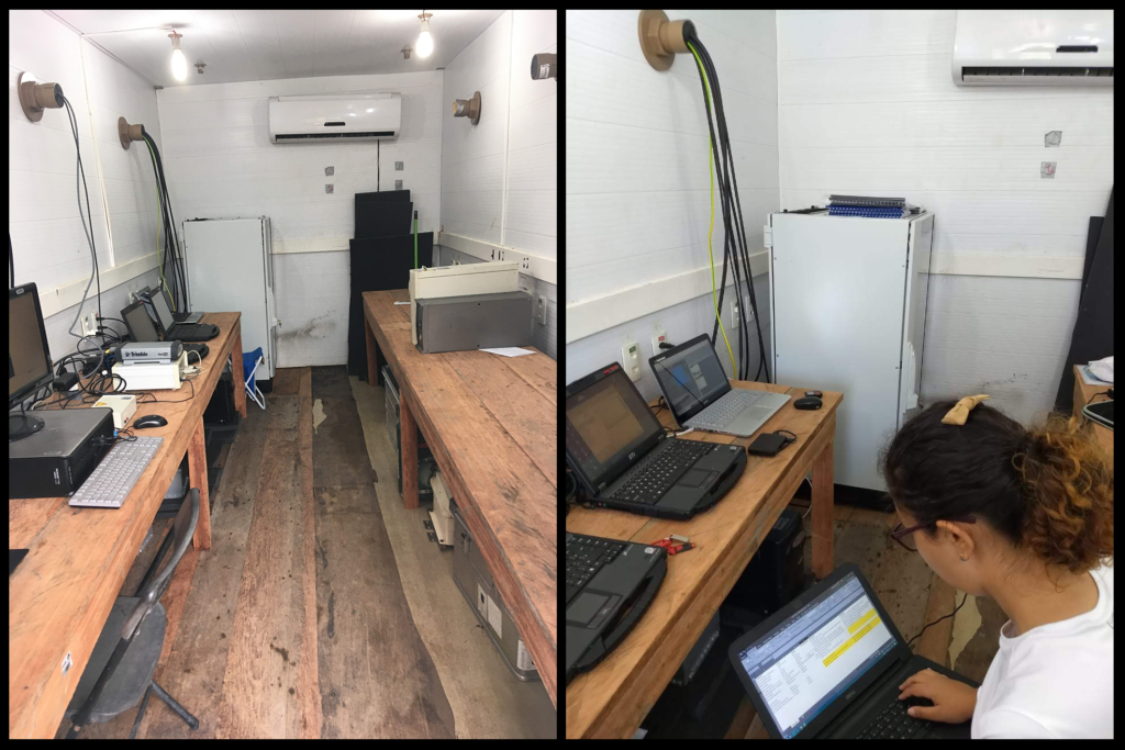 View inside the research container with a very much-needed air-conditioner :), tools, and several notebooks that control all the instruments on the site. On the right, there's me very concentrated collecting info about the setup after the installation.