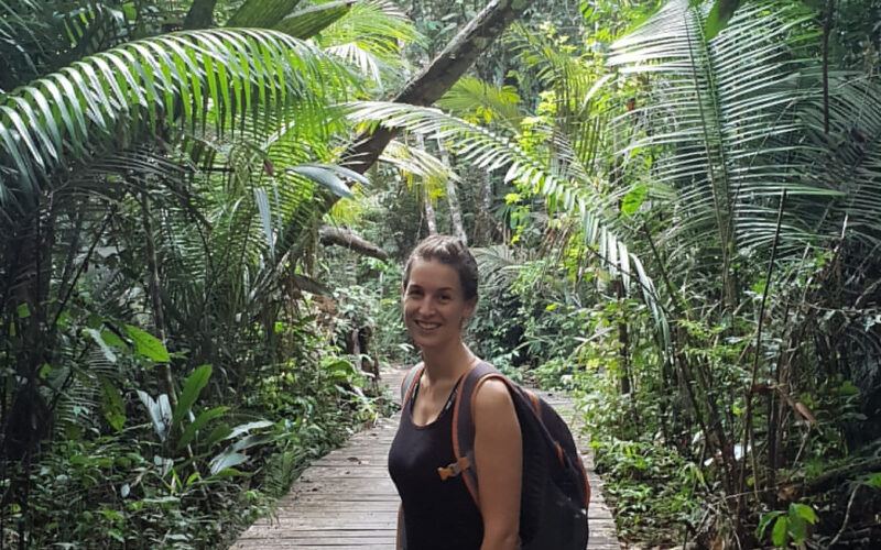 Maria Prass in the forest at ATTO to study bioaerosols