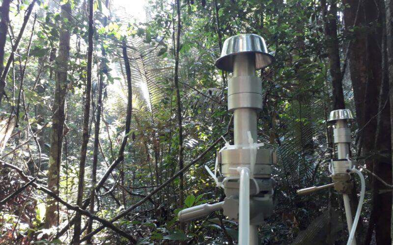 Probenahme-Setup für Bioaerosole nahe dem Waldboden